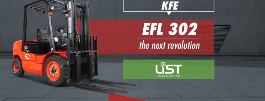 Telaio di un diesel, vantaggi del litio: ecco il nuovo carrello elevatore EFL 302